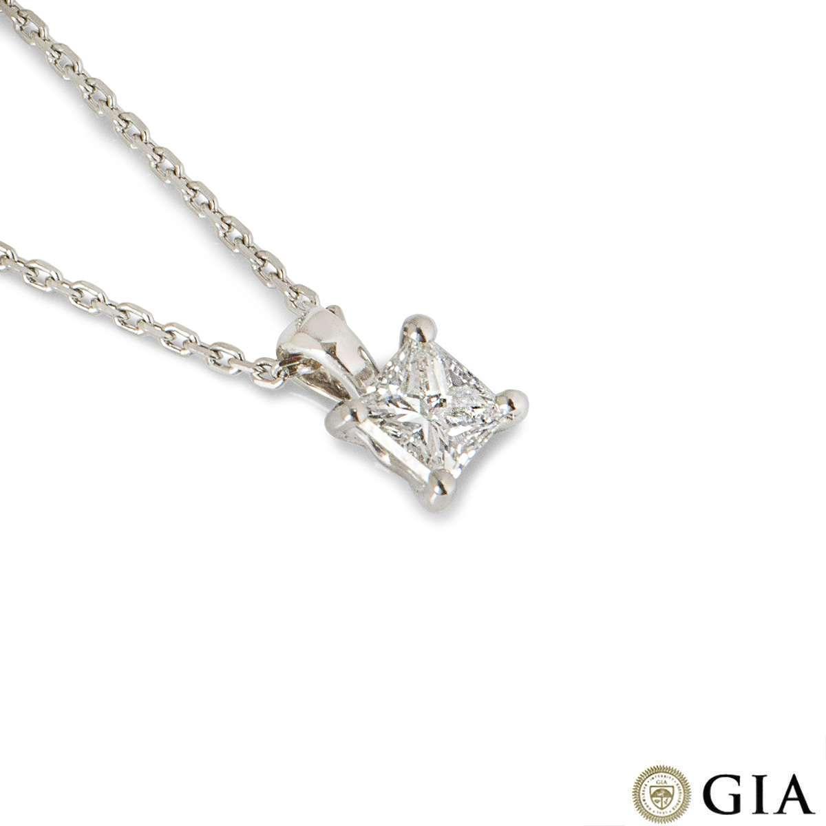 Platinum Princess Cut Diamond Pendant 0.57ct G/VS1